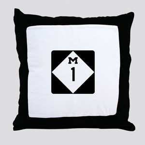 Woodward Avenue Route Shield - M1 Throw Pillow