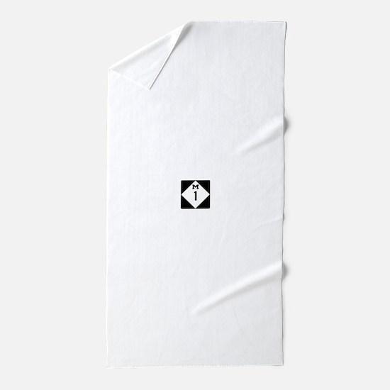 Woodward Avenue Route Shield - M1 Beach Towel