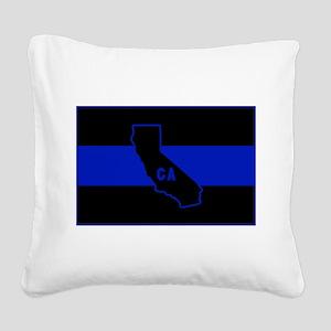 Thin Blue Line - California Square Canvas Pillow