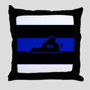 Thin Blue Line - Virginia Throw Pillow