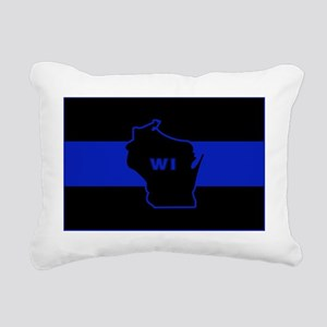 Thin Blue Line - Wiscons Rectangular Canvas Pillow