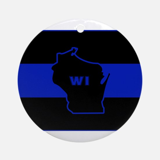 Thin Blue Line - Wisconsin Round Ornament