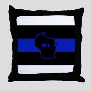 Thin Blue Line - Wisconsin Throw Pillow