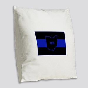 Thin Blue Line - Ohio Burlap Throw Pillow