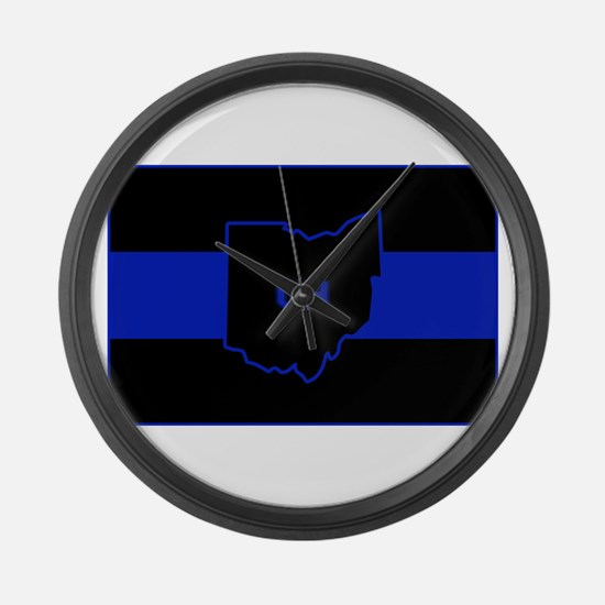 Thin Blue Line - Ohio Large Wall Clock