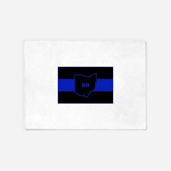 Thin Blue Line - Ohio 5'x7'Area Rug