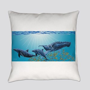 Humpback & Dolphins Everyday Pillow