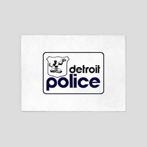 Old Detroit Police Logo 5'x7'Area Rug