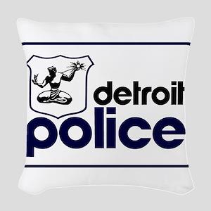 Old Detroit Police Logo Woven Throw Pillow