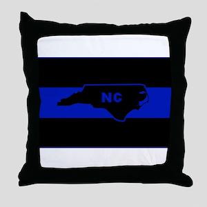 Thin Blue Line - North Carolina Throw Pillow