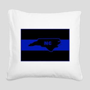 Thin Blue Line - North Caroli Square Canvas Pillow