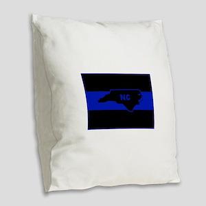 Thin Blue Line - North Carolin Burlap Throw Pillow