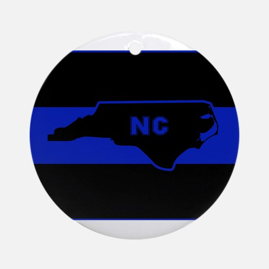 Thin Blue Line - North Carolina Round Ornament
