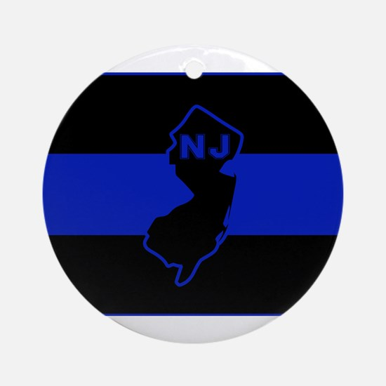 Thin Blue Line - New Jersey Round Ornament