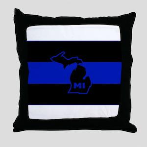 Thin Blue Line - Michigan Throw Pillow