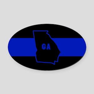 Thin Blue Line - Georgia Oval Car Magnet