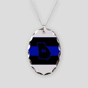 Thin Blue Line - Georgia Necklace Oval Charm