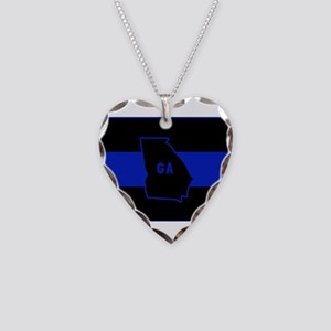 Thin Blue Line - Georgia Necklace Heart Charm