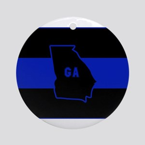 Thin Blue Line - Georgia Round Ornament