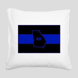 Thin Blue Line - Georgia Square Canvas Pillow