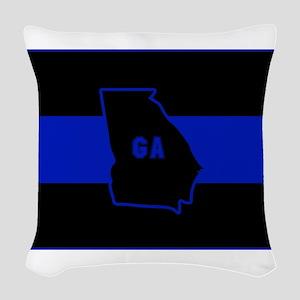 Thin Blue Line - Georgia Woven Throw Pillow