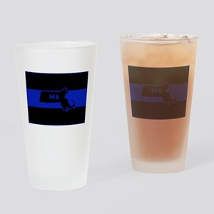 Thin Blue Line - Massachusetts Drinking Glass