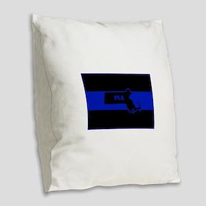 Thin Blue Line - Massachusetts Burlap Throw Pillow