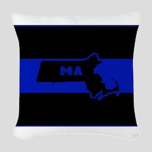 Thin Blue Line - Massachusetts Woven Throw Pillow