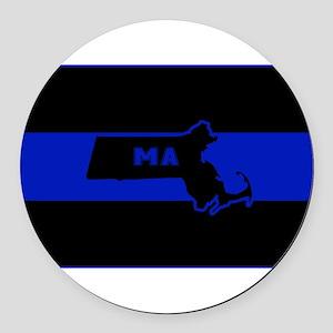 Thin Blue Line - Massachusetts Round Car Magnet