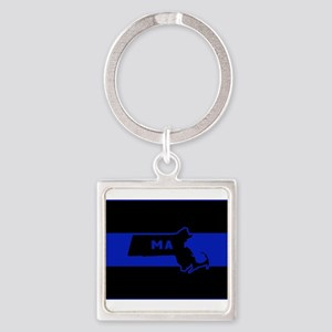 Thin Blue Line - Massachusetts Keychains