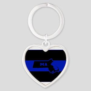 Thin Blue Line - Massachusetts Keychains