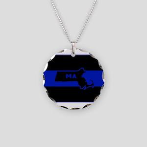 Thin Blue Line - Massachuset Necklace Circle Charm
