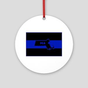 Thin Blue Line - Massachusetts Round Ornament