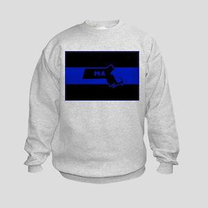 Thin Blue Line - Massachusetts Kids Sweatshirt