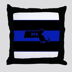 Thin Blue Line - Massachusetts Throw Pillow