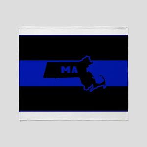 Thin Blue Line - Massachusetts Throw Blanket