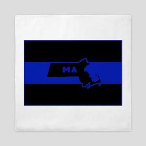 Thin Blue Line - Massachusetts Queen Duvet