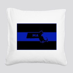 Thin Blue Line - Massachusett Square Canvas Pillow
