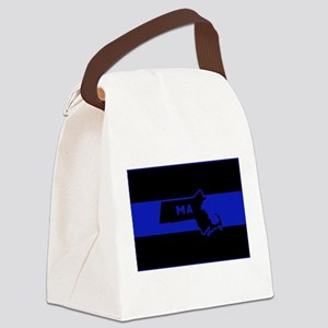 Thin Blue Line - Massachusetts Canvas Lunch Bag
