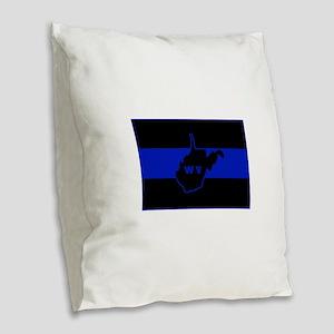 Thin Blue Line - West Virginia Burlap Throw Pillow