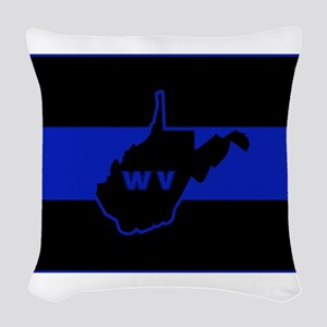 Thin Blue Line - West Virginia Woven Throw Pillow