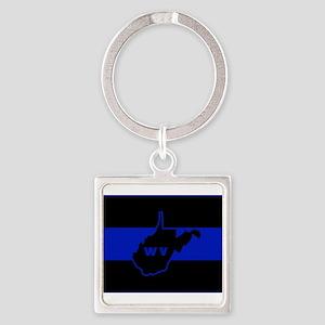 Thin Blue Line - West Virginia Keychains