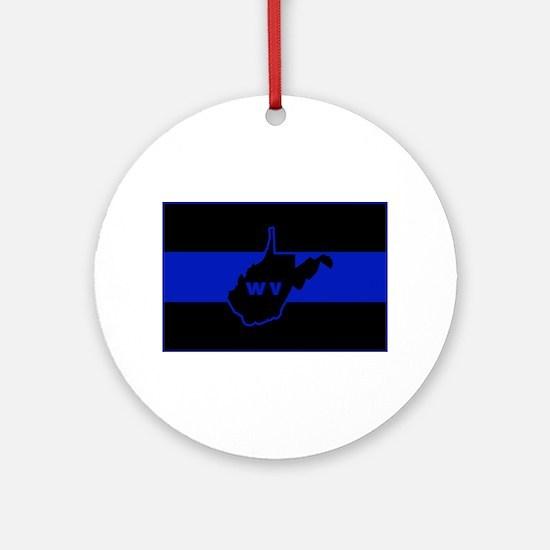 Thin Blue Line - West Virginia Round Ornament