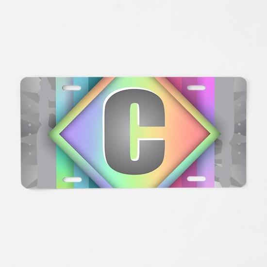 Rainbow Splash C Aluminum License Plate