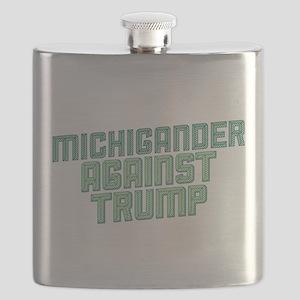 Michigander Against Trump Flask
