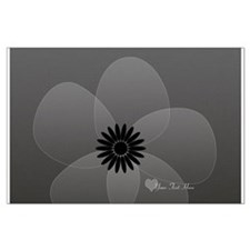 Chic Glam Grey Flower Large Poster
