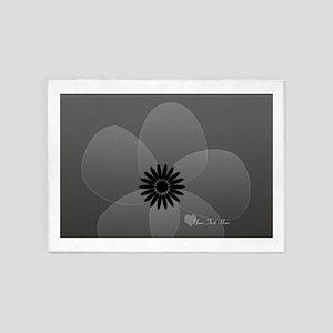 Chic Glam Grey Flower 5'x7'Area Rug
