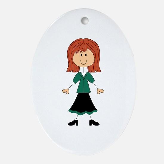 TEACHER STICK WOMAN Oval Ornament