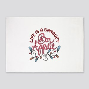 LIFE IS A BANQUET 5'x7'Area Rug