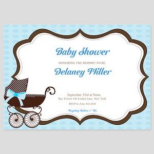 Baby Shower Boy Pram Invitations